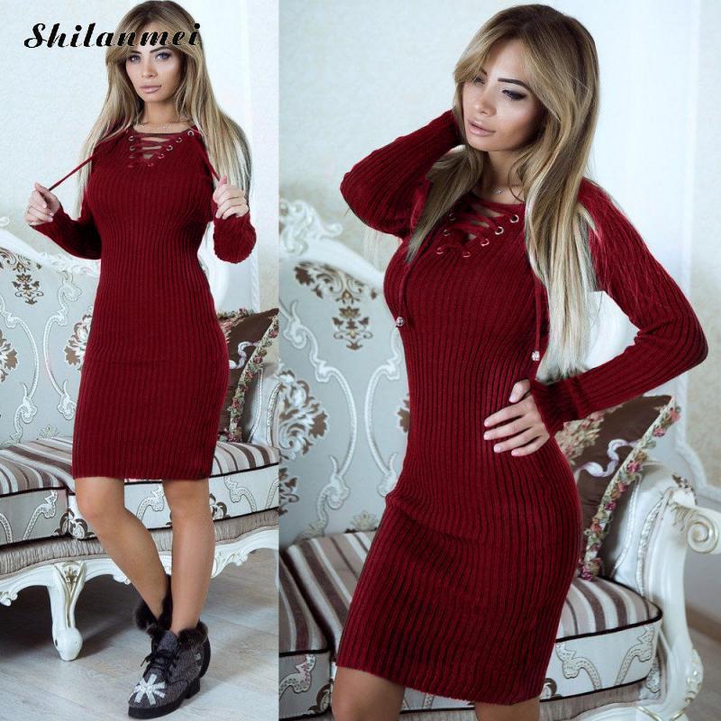 2018 Long Sleeve V-Neck Sheath Women Lace Up Knitted Sweater Dress Autumn  Winter Black 9db8dfe52