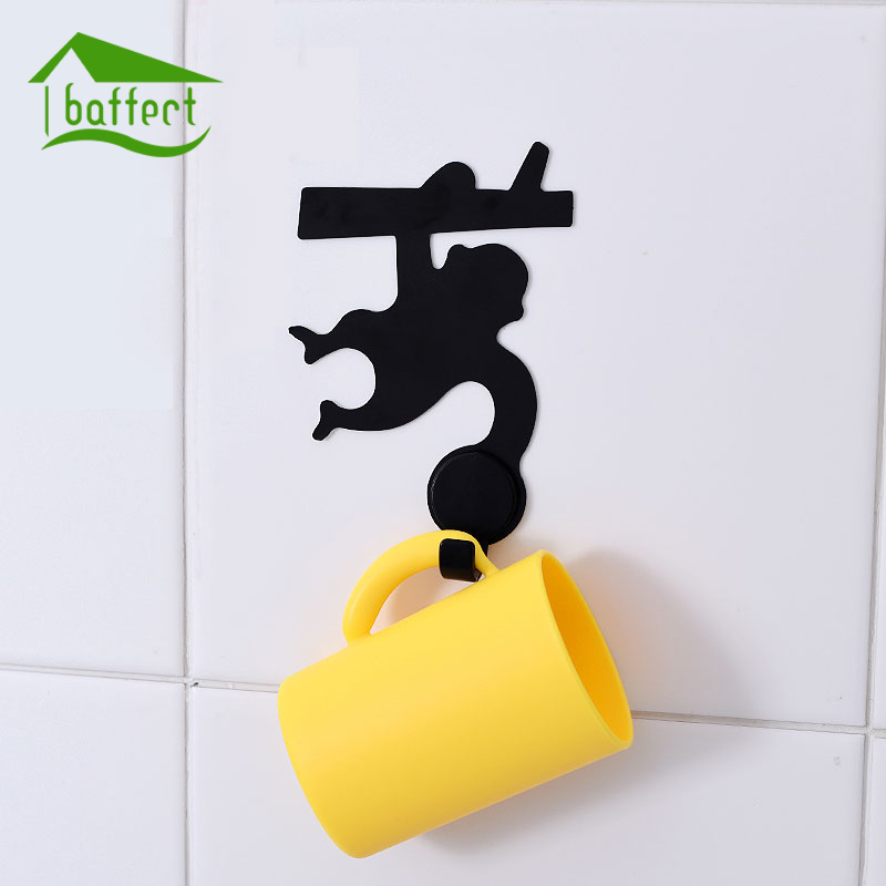 bathroom cartoon cup hook set adsorbed on wall cute monkey hanger suit hanging brush cups rinse. Black Bedroom Furniture Sets. Home Design Ideas