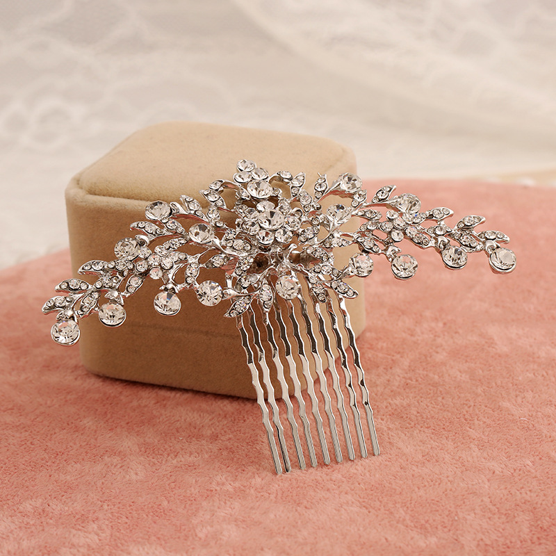 2pcs/lot bride wedding hair jewelry wholesale rhinestone alloy hair comb bride crown headdress