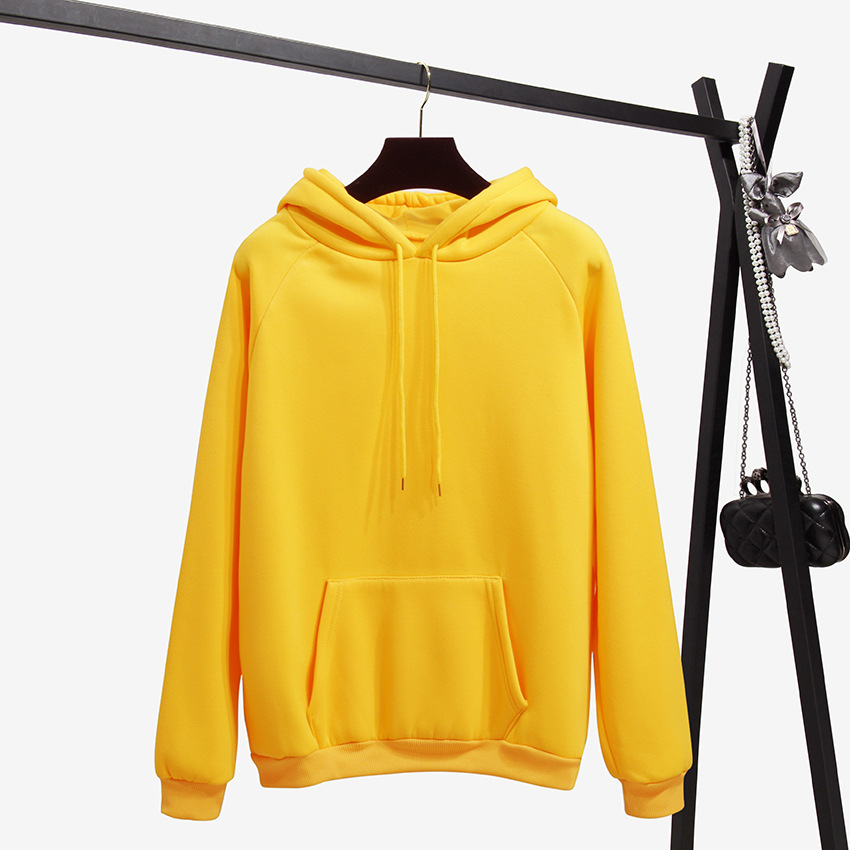 Autumn And Winter Yellow Long Sleeve Hooded Casual Hoodie 2020 New Fashion Pure Color Loose Top Women's Sweatshirt Coat