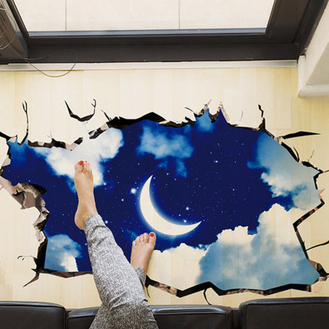 Moon Stars Planet Wall Stickers For Kids Rooms Sky 3D Outer Space Wall  Sticker Smashed Wall