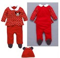 cute infant cartoon minnie clothing kids cotton clothes fashion baby boys girls red rompers +hats 2pcs set new autumn overalls