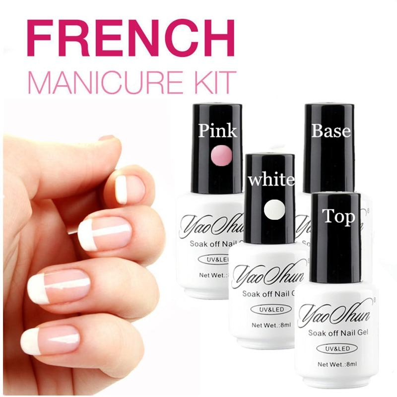 YaoShun French Manicure Pink white gel nail polish Base ...