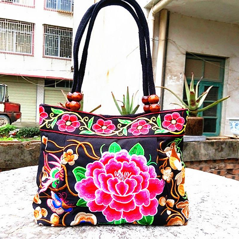 Embroidery Ethnic Travel Shoulder Bag Women Bags Handmade Double Faced Flower Vintage Embroidered Canvas Wood Beads Handbag