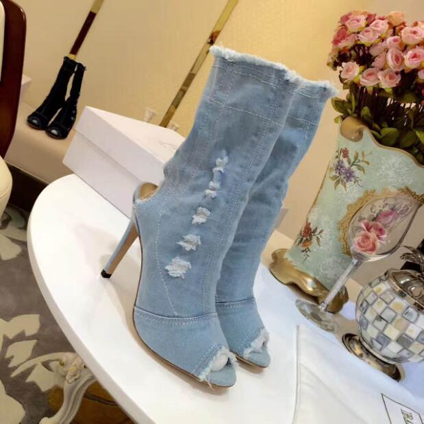 New arrival women peep-toe boots Spring Summer fashion blue denim ankle boots dark-blue light-blue white black shoes jeans boots