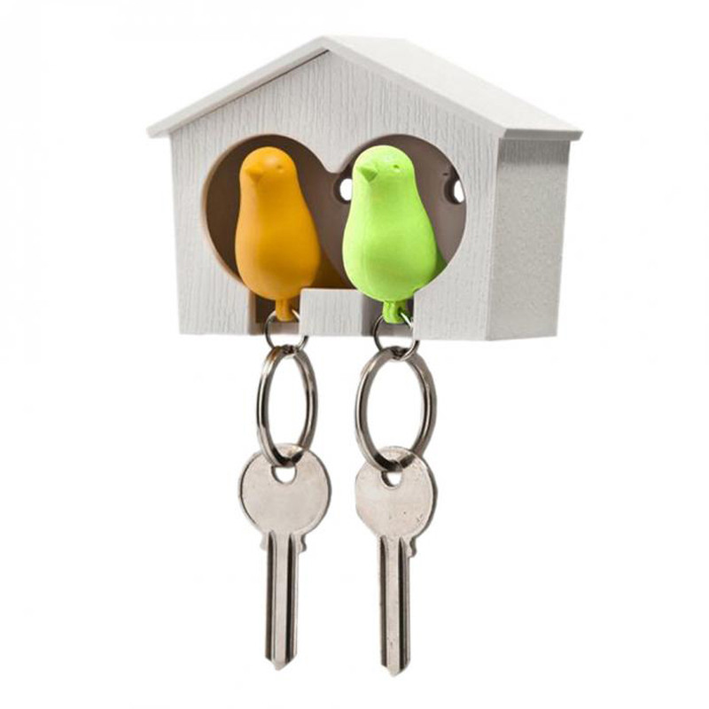 Creative Bird Nest Sparrow House Key Chain Ring Wall Holders Racks Keys Rails Organizern Wall Door Hanging Birds House Hooks