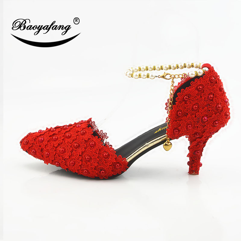 2019 red Flower Ankle Strap Shoes Woman Buckle shoe Pearl Wedding shoes Bride Lace Up Ladies