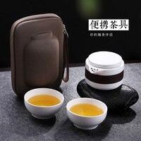ONEISALL 1pot 2 copos de Viagens Chinesa Conjuntos De Chá Em Cerâmica Portátil Kung Fu Tea Pot com Saco Rápida Copo, Chaleira Bule De Chá Chá copo