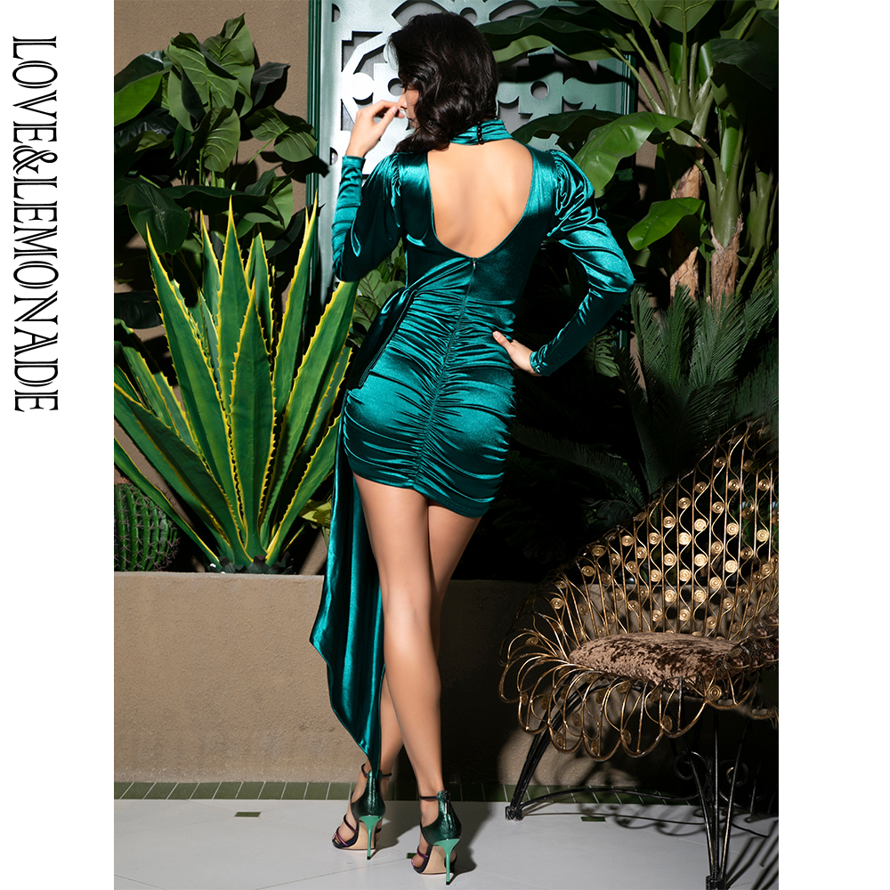 Love&Lemonade Sexy Open Back High Collar  Puff Sleeve Bodycon Party Dress LM81733-1 GREEN