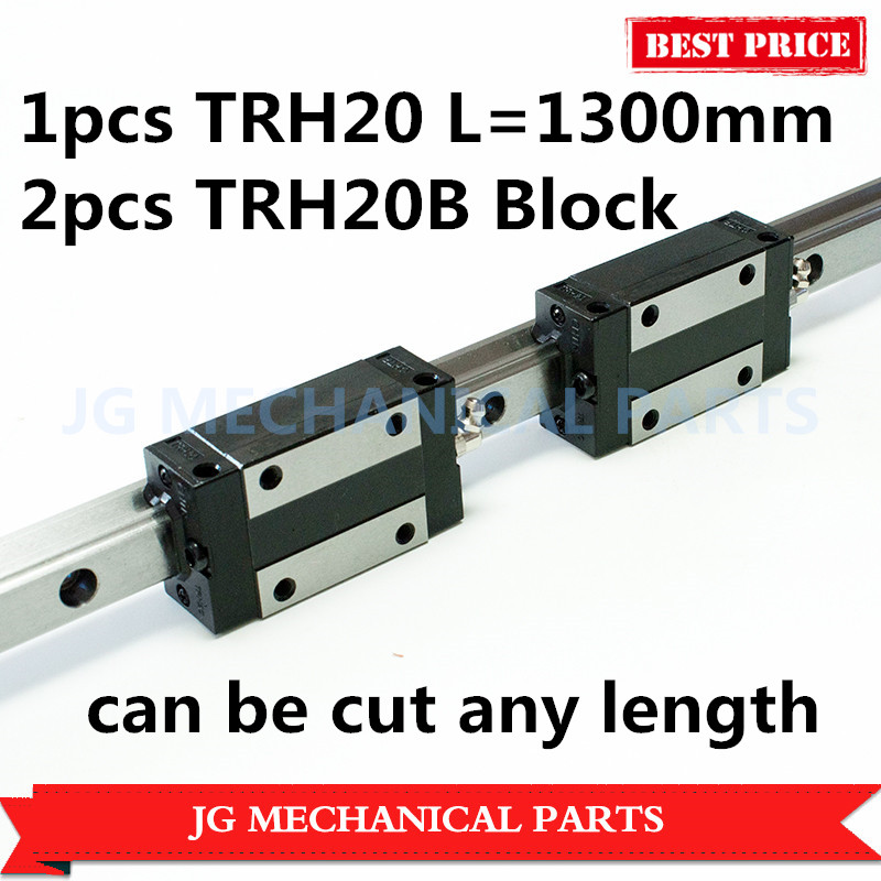 High Precision 20mm linear guide rail 1pcs TRH20 L=1300mm with 2pcs TRH20B Square block carriage for CNC Router Milling Machine цены