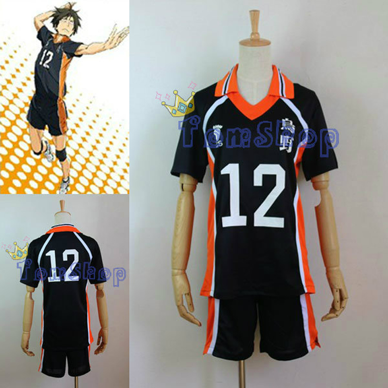 Anime Haikyuu!! Karasuno High School #12 Yamaguchi Tadashi Volleyball Club Jersey Cosplay Costume Sports Wear Uniform M L XL XXL