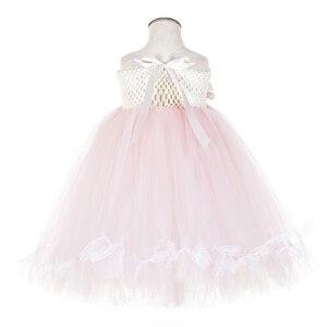 Image 4 - かわいい花の女の子の結婚式ユニコーンベビー服十代ノースリーブ笑ドレスピンクのためのチュールレースちょうチュチュドレスvestido