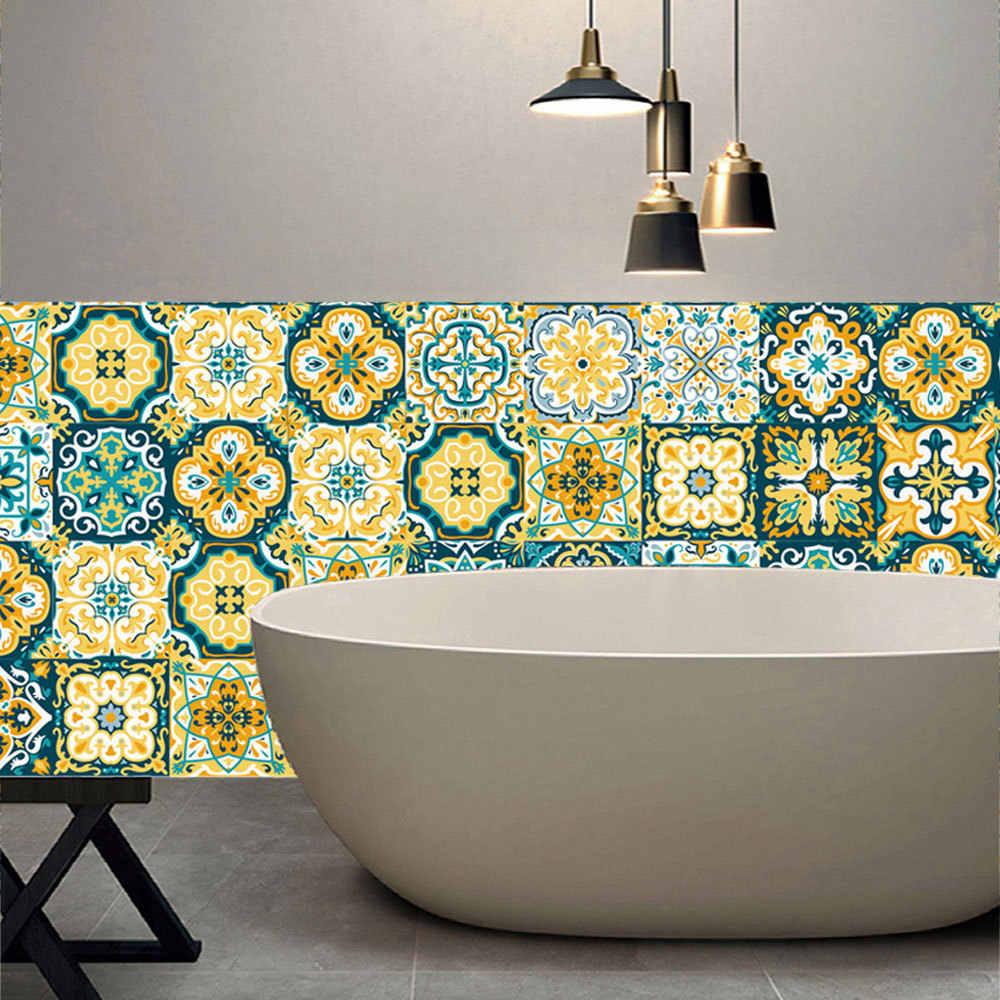 Amarillo barroco 3d pared pegatina azulejo muebles de cocina baño Mural  impermeable bricolaje decoración de la habitación de Pvc papel de cintura  ...