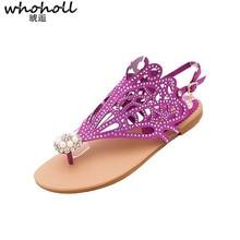 WHOHOLL Bohemian Women Sandals Crystal Flat Heel Sandalias 2019 New Summer Rhinestone Chain Shoes Thong Flip Flops