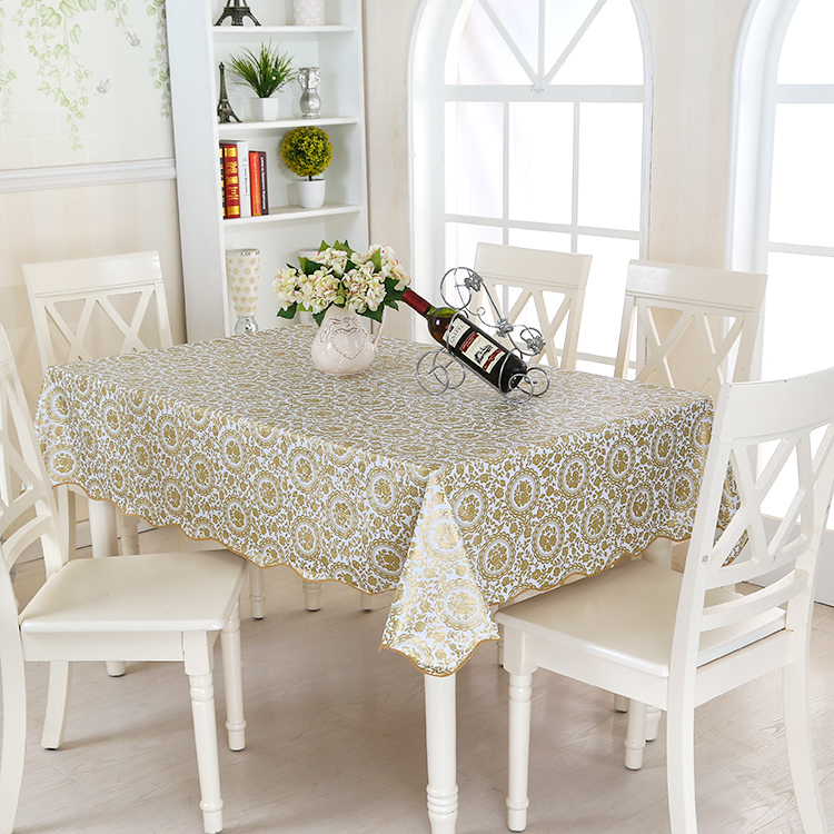 wipe clean round pvc vinyl tablecloth dining kitchen table cover