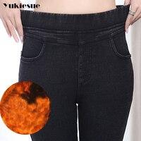 Высокая талия джинсы Женщины 2017 зимние теплые флисовые эластичные узкие джинсы женские узкие брюки женские джинсы Femme Большие размеры 5XL 6XL