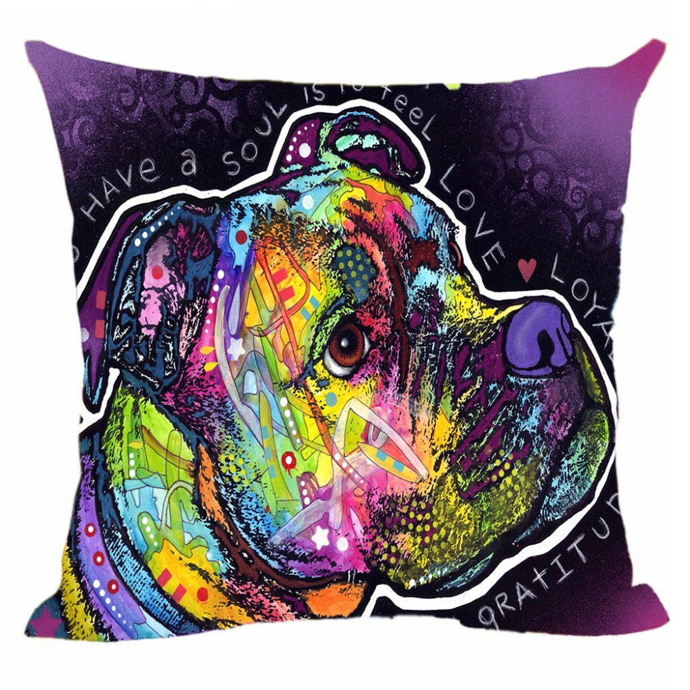 Funny Pillow Covers Pet Dog Boxer Cushion Cover Sofa Bed Chair Decorative Pillowcase Customize Gift Animals Canvas Pillow Cases
