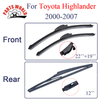 KIT Silicone Rubber Windscreen Front And Rear Wiper Blades For Toyota Highlander 2000 2007 Windshield Wiper