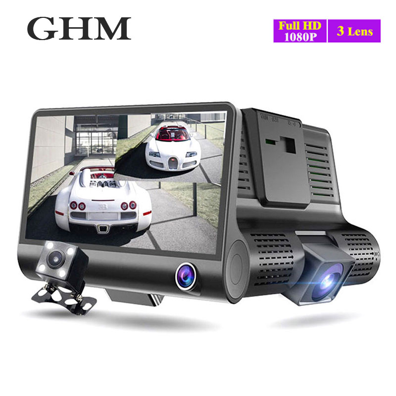 Hd Bildschirm 1080 Drei Objektiv Auto Dvr Auto Kamera Recorder 32g Nachtsicht Recorder Tragbare G-sensor Stick video Auto Dash Kamera