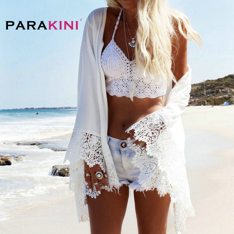 PARAKINI White Lace Crochet Beach Tunic Women Beach Wear 2018 V Neck Long Sleeve Bikini Cover Ups Hollow Out Mini Beach Dress 1