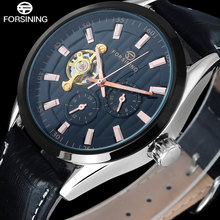 2016 Hot FORSINING Luxury Men Dress Wristwatches Genuine Leather Band Automatic Self Wind Waterproof Mechanical Watch