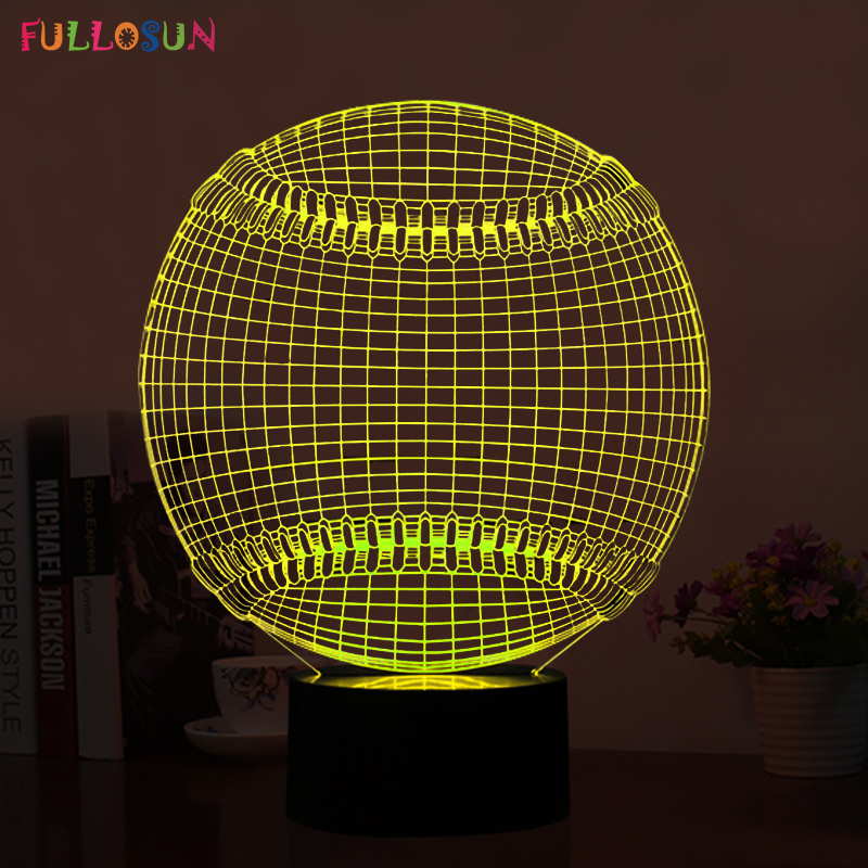 Baseball 3D LED Night Lights LED 5V USB Multi-colors Table lamp LED 3D USB Decorations Lights as Novelty Gifts