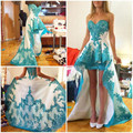 2016 Turquoise High Low light blue Homecoming Dresses Sweetheart Appliques long train Prom homecoming dress Cocktail Dresses
