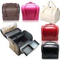 Fashion Portable Makeup Case Organizer For Cosmetics 3 Layers Multifunction Jewelry Storage Box Makeup Organizer Bolso