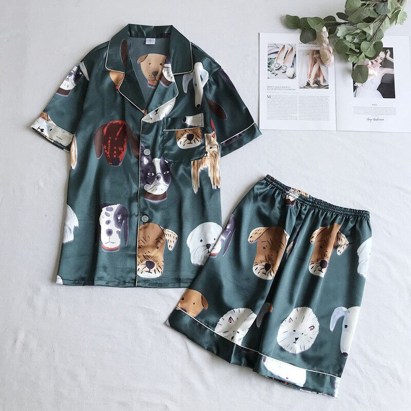 Plus Size 3XL Summer 2019 Women Pajamas Cartoon Animal Dachshund Sleepwear 2 Pcs Set Short Sleeve Shorts Suit Pyjamas Home Wear