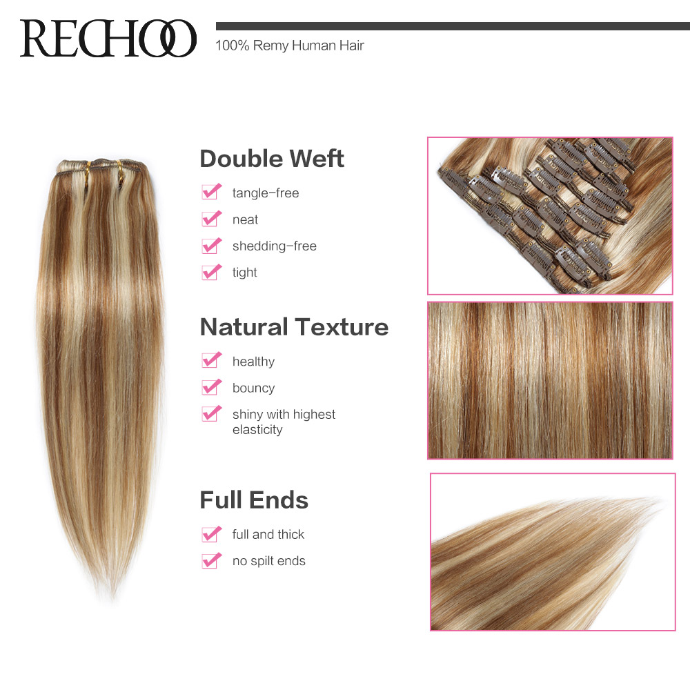 Malaysian Straight Clip Ins Remy Hair Clip Natural Extensions 120g