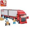 Sluban b0338 doble carga de contenedores de coches diy modelo de bloques de construcción ladrillos niños juguetes regalo leping compatible diy