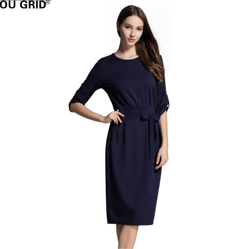 Women High Quality Spring Summer Office Dress Slim Half Sleeve work Casual Dress with Belt Stretchable Solid Color Vestidos