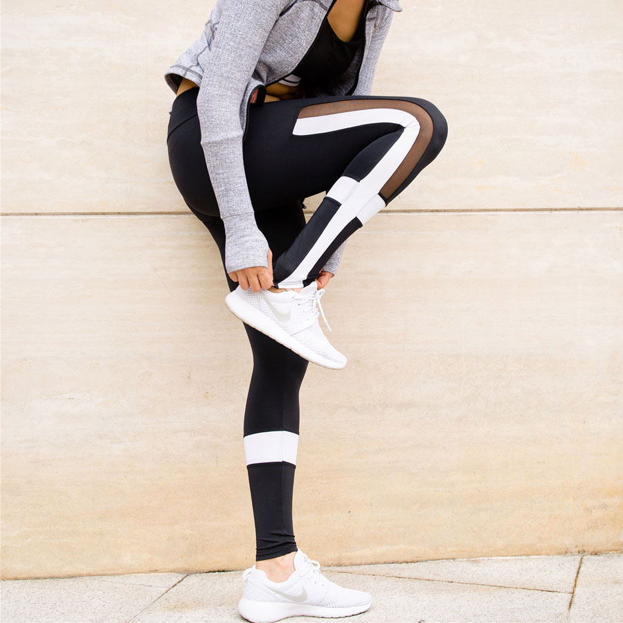 7ab330a957 Czarny I Biały Patchwork Legginsy Kobiety Mesh Splice Spodnie Legging Plus  Size Sporting Treningu Fitness Style Elastyczne Spodnie