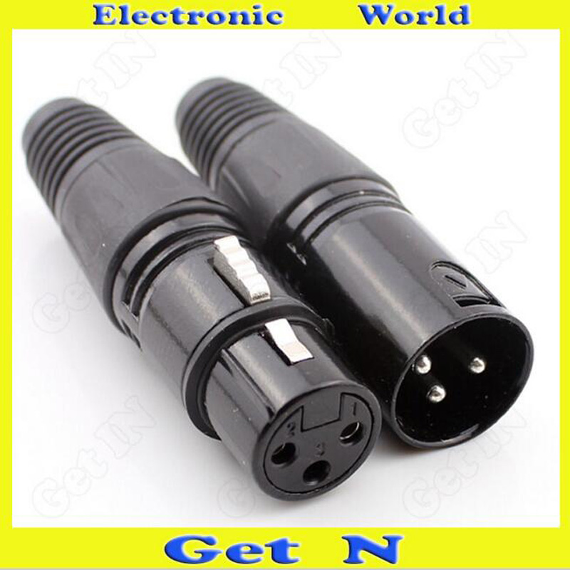 100pcs Cannon Black 3 Pole Cannon XLR Connector Plug for Microphone Karaoke Devices and Home Stereo in Connectors from Lights Lighting
