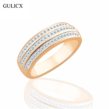 GULICX Brand New Luxury Three Row Women Size 8 Band Gold-color Finger Ring Crystal CZ Zircon Wedding Jewelry R261