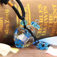 Fashion Women Jewelry Perfume Glass Essential Oils Bottle Necklace Women Necklace Heart Pendant Birthday Christmas Gift
