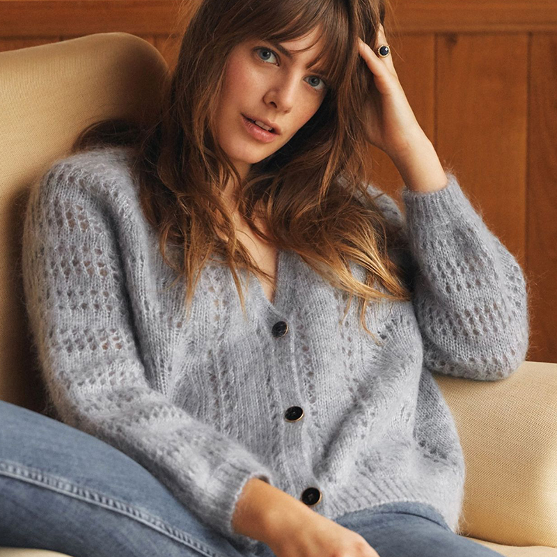 Women Lazy Loose Mohair Hollow Out Long Lantern Sleeve V Neck Single Breated Sweater Cardigan Coat