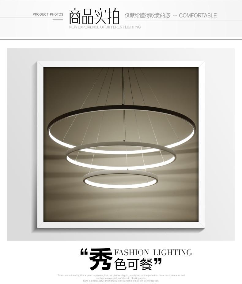 Pendant Lights Creative Art Personality Restaurant Lamp Fashion Led Chandelier Nordic Hong Kong-style Living Room Lamp Circular Ring Lamp Light Lights & Lighting