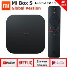 Оригинальный Глобальный Xiaomi mi Box S Android 8,1 Smart 4 K WiFi BT4.2 Cortex-A53 четырехъядерный 64 бит HD mi 2,0 2,4G/5,8G медиаплеер