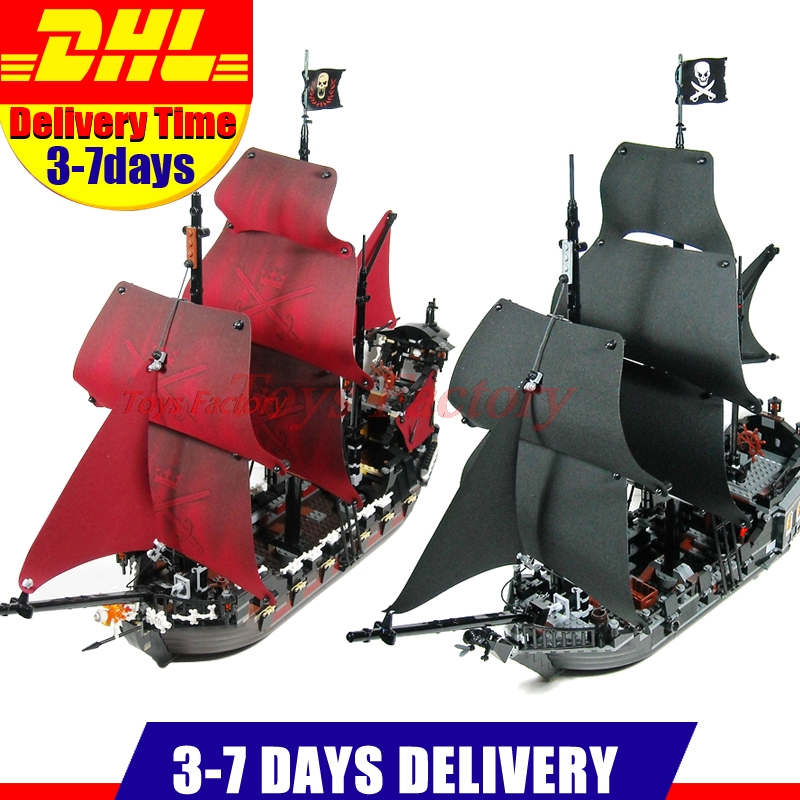 2018 DHL LEPIN 16006 Pirates Caribbean Ship The Black Pearl+16009 Queen Anne's revenge Pirate Ship Building Blocks Set lepin 16009 caribbean blackbeard queen anne s revenge mini bricks set sale pirates of the building blocks toys for kids gift