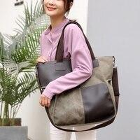 e12e275e89f SUNNY SHOP Women Canvas Tote Bags Splice Leather Design Shoulder Bag Vintage  Boho Bag Purses Fashion. Bekijk Aanbieding. FGGS Rotan Tassen Voor Vrouwen  ...