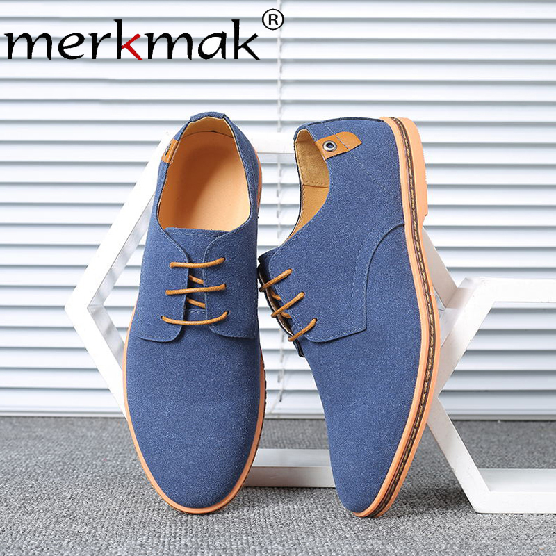 Merkmak 2019 Spring Suede Leather Casual Men Shoes Oxford Classic Lace Up Dress For Male Comfortable Footwear Big Size 38-48