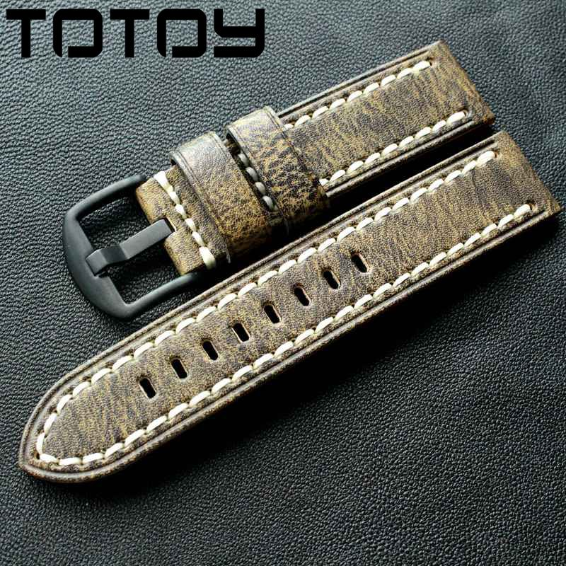 TOTOY Gray Vegetable Tanned Leather Strap, 20MM 22MM 24MM Italian Vintage Calf Leather <font><b>Bracelet</b></font> Adapt To <font><b>PAM</b></font> Mountaineering image