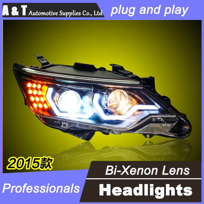 car styling 2015 For TOYOTA Camry headlights LED DRL For TOYOTA Camry Q5 bi xenon lens h7 xenon LED light bar DRL HEAD LIGHT special car trunk mats for toyota all models corolla camry rav4 auris prius yalis avensis 2014 accessories car styling auto