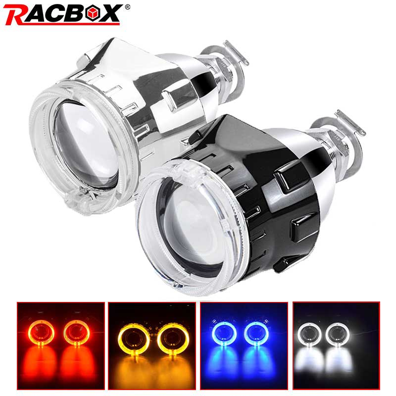 RACBOX Universal 2.5 Inch Led Angel Eyes Bi-xenon Projector Lenses Driving Light DRL H4 H7 Car Retrofit Styling Use H1 Lamp