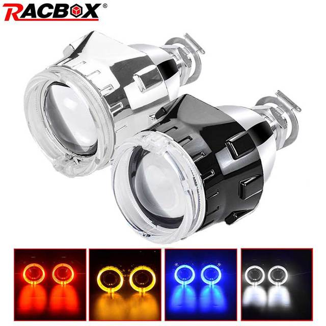 $ US $32.98 RACBOX Universal 2.5 inch Led Angel eyes Bi-xenon Projector lenses Driving Light DRL H4 H7 Car Retrofit Styling Use H1 Lamp