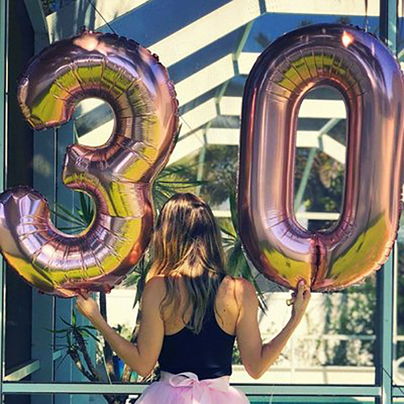 32/40inch Large Number Foil Balloons Rose Gold 0-9 Year <font><b>18th</b></font> 30 <font><b>Birthday</b></font> Party <font><b>Decorations</b></font> Adult Kids Giant Helium Letter Ballon image