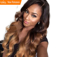 Ombre Human Hair Lace Wig Pre Plucked Brazilian Lace Front Human Hair Wigs With Baby Hair 130% Density Remy Hair 8 24