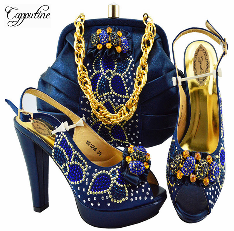 Capputine Latest African Shoes And Bag Set For Party Italian Fashion Women Sandal With Matching Bags Set Size 38-43 YK1066 capputine african style crystal shoes and matching bag set for party fashion women pumps slipper shoes and bags set size 37 43