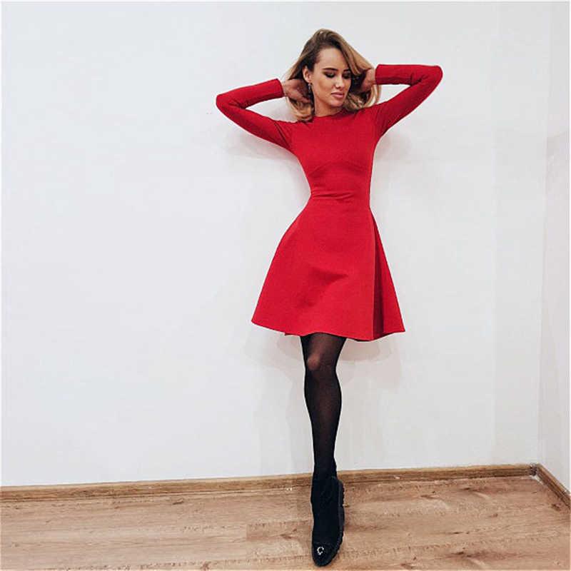 BornToGirl тонкое эластичное платье женское весеннее с длинным рукавом ТРАПЕЦИЕВИДНОЕ Сексуальное Черное Красное платье robe femme 2019